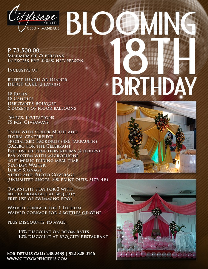 BLOOMING 18TH BIRTHDAY INQUIRE PACKAGE