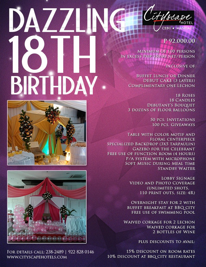 DAZZLING 18TH BIRTHDAY INQUIRE PACKAGE
